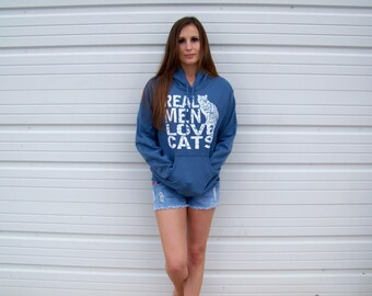 Cat sweatshirt, funny sweatshirt, Real Men Love Cats, Pullover hoodie, cat sweater, mens sweatshirt, cat shirt, cool t-shirt, animal rescue
