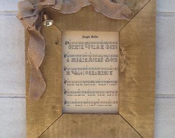 Framed Jingle Bells Sheet Music - framed home decor - framed wall art - christmas wall art - framed christmas art - framed sheet music