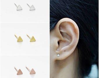 925 Sterling Silver Earrings, Triangle Earrings, Gold Plated Earrings, Rose Gold Plated Earrings, Stud Earrings, Size 3 mm (Code : K02B)