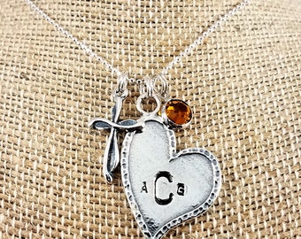 Cross, Heart & Birthstone Charm Necklace; Sterling Silver; Hand-Stamped; Custom