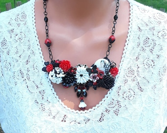 Red and black collage necklace, vintage earrings, cameo, enamel flowers