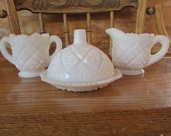 1950's Milk Glass Cream and Sugar and Covered Dish