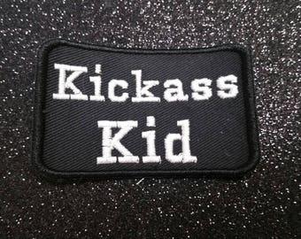 Kickass Kid Embroidered Alternative Badge Parent Patch Biker Punk Parenting