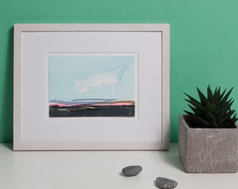 Pink Horizon, original abstract landscape, with Passepartout, optional with frame, modern image, beautiful gift, small painting