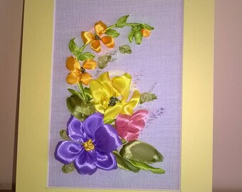 Embroidered greeting card.Luxury card.Embroidered flowers.For any occasions.Gift.