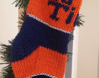 GO TIGERS - Detroit Tigers Fan Christmas Stocking - Hand Knit in Michigan - Hand Embroidered - Vintage Family Stocking - Ready to Ship as is