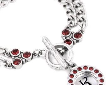 Personalized Monogram Bracelet, Letter Jewelry, Initial Bracelet, Birthstone Crystal Bracelet, Personalized Birthday Gift