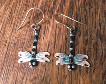 Enamel Dragonfly Earrings, Black, White, and Aqua