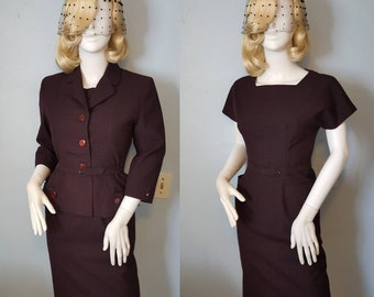1950s 50s vintage wool checkered 3PC wiggle pencil dress with matching jacket suit and belt bombshell hourglass officewear mad men