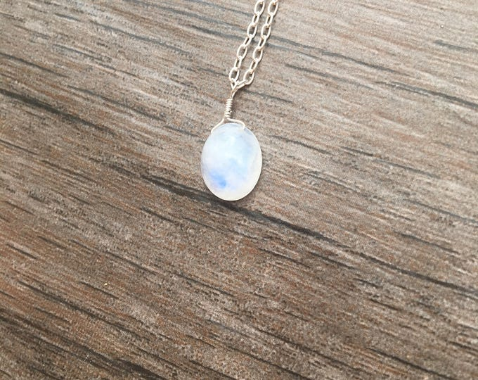 Smooth Rainbow Moonstone Littles Necklace in Sterling Silver Delicate Dainty Minimalist Healing Chakra Energy Gemstones Inspirational Gift
