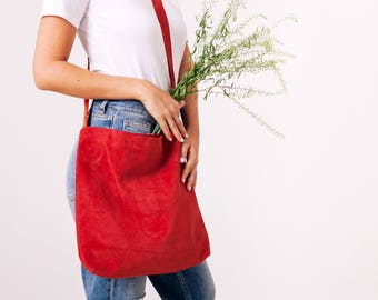 Red Leather Tote, Suede Leather Bag, Soft Leather Suede Bag, Crossbody Tote, Lightweight Leather, Magnetic closer, Red Bag