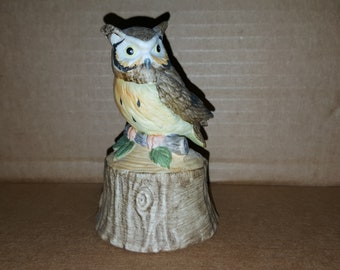 Lefton Ceramic Handpainted Owl Bell - ceramic
