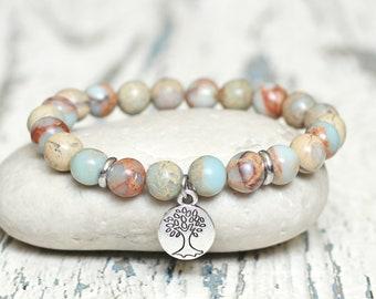 tree of life bracelets healing sister gift under 20 good luck protection charm bracelet bohemian serpentine gemstone beaded bracelet stretch
