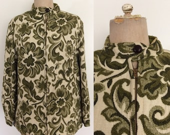 1970's Tapestry Green & Cream Floral Print Fall Jacket Size Medium Large by Maeberry Vintage