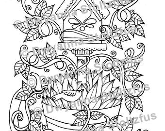 Birdhouse Planter  Coloring Page JPG