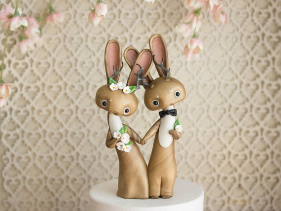 Jackalope Wedding Cake Topper by Bonjour Poupette