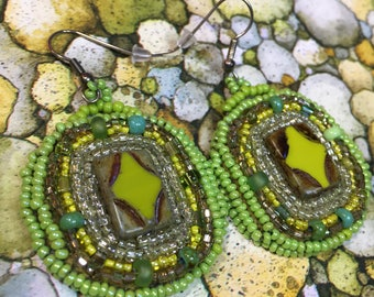 Czech lime green bead embroidery earrings