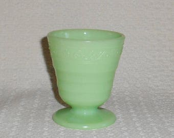 McKee Jadite Jadeite Green Glass Flower Band Pattern Footed Tumbler
