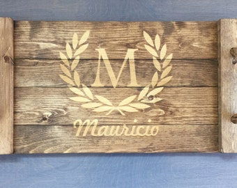 Personalized Serving Tray, Personalized Rustic Serving Tray, Custom Wooden Serving Tray, Personalized Ottoman Tray Gift, Wedding Gift Idea