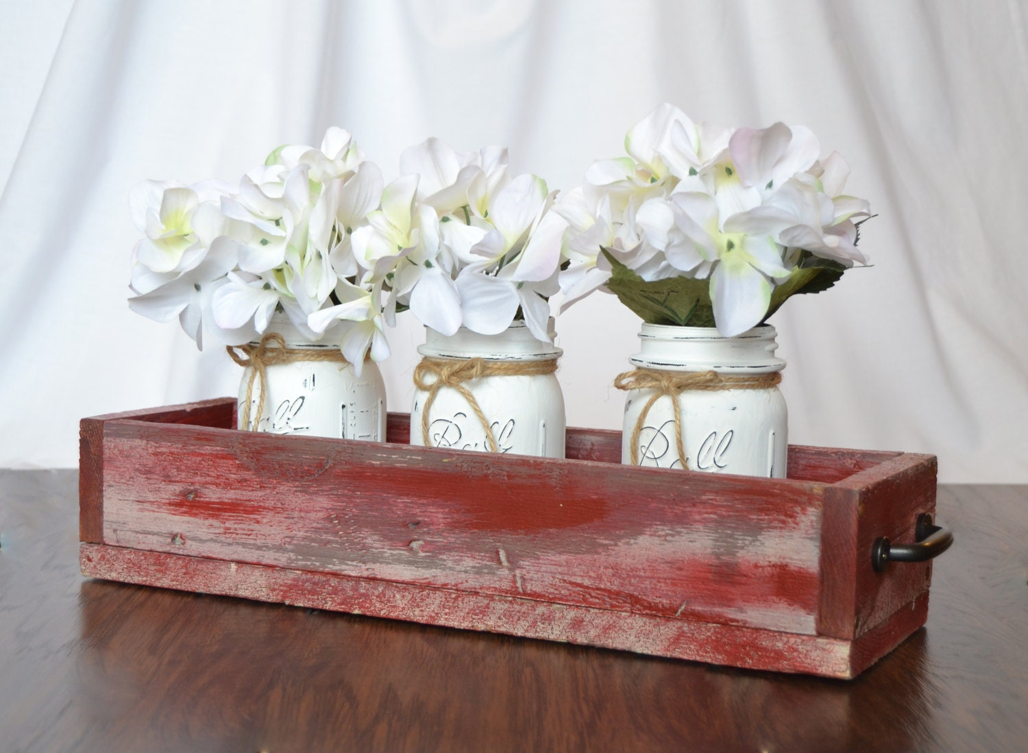 Large Rustic Salvaged Wood Farmhouse Table Box Centerpiece
