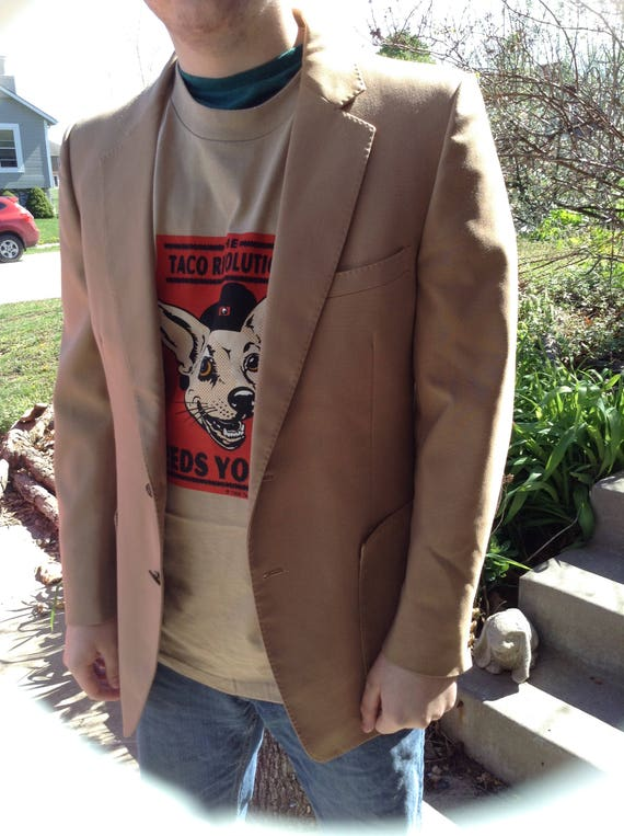 Vintage Hipster 70s Alfie of California mens vneck ivory, brown, and gray sweater size large free domestic shipping