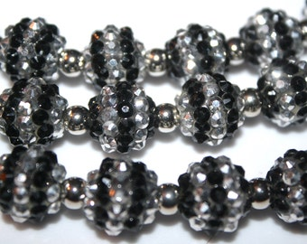 Rhinestone Resin Black And Silver Stripe Rhinestone Resin Beads - 14mm - 15ct - D150