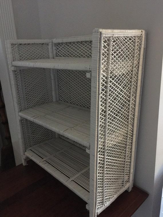 Vintage Wickerbook Shelf Flat Folding Wicker Shelf 3 Tier