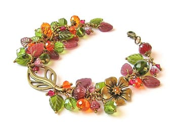 Charm bracelet, Dangles Beaded Bracelet, Summer Jewelry, Burgundy Green Orange, Floral Glass Jewelry, Plus size bracelet, Adjustable length