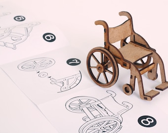 1:12 Scale Doll House Wheelchair Model. Laser Cut Self Assembly  Kit.