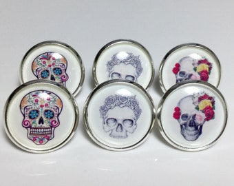 Sugar Skull Earrings 3 PAIRS Skull Lover Gift Jewelry Mexican Skull Day of the Dead