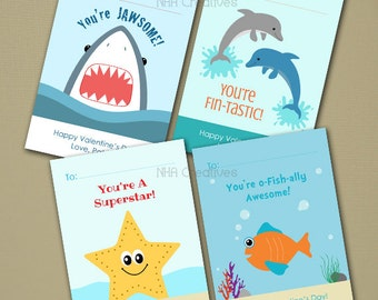 Personalized Sea Creatures Valentine's Day Cards - Shark, Dolphin, Starfish, Fish -  Set of 4 - DIY Printable Digital File