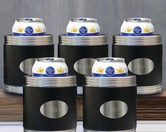Personalized Leather Can Cooler  - Groomsmen Gifts - Engraved Can Holder  (Lot of 5 - RO483X5)
