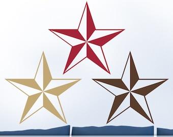 Primitive Stars, Americana Home Decor Wall Decals, 3 Primitive Country Decor Stars Vinyl Wall Decals (0176a1v)