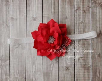 Red Poinsettia Flower Headband-  Baby Girl Headband- Christmas Headband- Newborn Headband- Flower Headband- Newborn Photography- Photo Prop