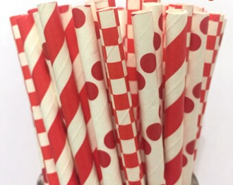 2.85 US Shipping -Valentine's Paper Straws- Red Paper Straws - Red Cake Pop Sticks - Drinking Straws