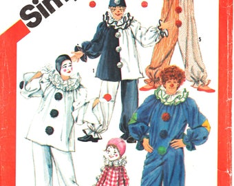 Simplicity 5740 Boy or Girl's Clown Halloween Dress Up Circus Clown Costumes and Hats Sewing Pattern Size 6-8 Vintage 1980s UNCUT