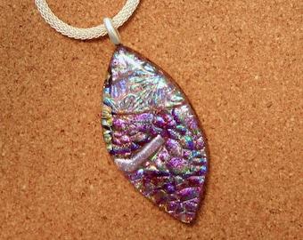 Dichroic Pendant - Teardrop Pendant - Fused Glass Pendant - Dichroic Jewelry - Dichroic Necklace - Fused Glass Jewelry - Glass Pendant