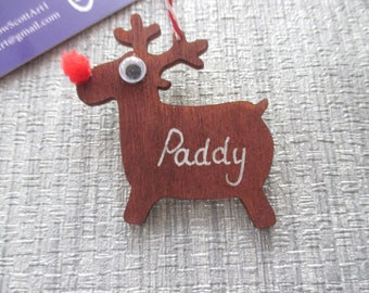 Wooden Christmas Reindeer Decoration, personalised with any name