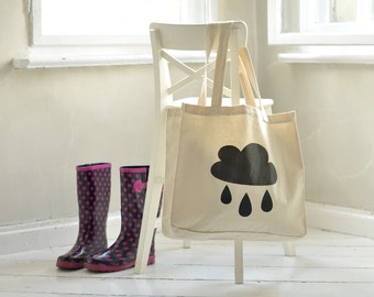 BIG tote bag, rainy CLOUD, canvas bag, wearing on shoulder, shopping bag, shoulder bag, linen bag, tote bag with print, beach bag