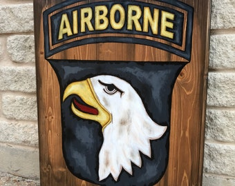 Airborne-101st-Army-Military-Soldier-Wall Art-Screaming Eagles-Rustic Barnwood Decor-Man Cave-Flags-Shabby-Reclaimed Wood-Hand Painted