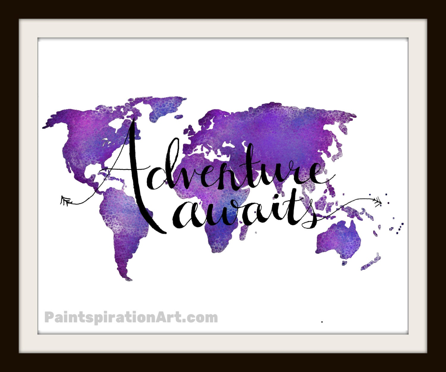 Purple Quotes Adventure Quote Purple Art Print World Map Wall Decor