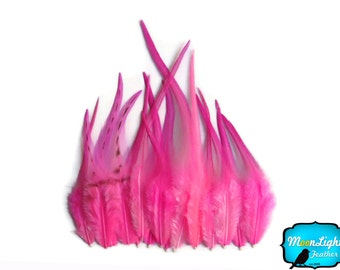 Pink Rooster Feathers, 1 Dozen - SHORT SOLID Hot Pink Rooster Hair Extension Feathers : 725