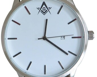 Luxury Masonic Watch with brown strap