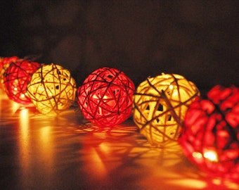 Red & White Rattan ball string lights for Patio,Wedding,Party and Decoration (20 bulbs)