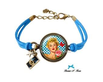 Bracelet * pin-up Girl * jewel setting dots blue