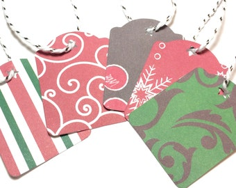 25 Assorted Christmas Gift Tags: Black, Red, and Green with Snowflakes, Swirls, and Ornament Accents, Holiday Gift Labels, 2 x 1.5 inch