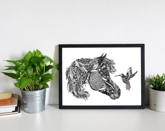 Limited Edition Horse and Hummingbird Black and White Art Print- Animal Art, Zentangle, Hand Drawn, A4 Print, Horse Print, Hummingbird Print