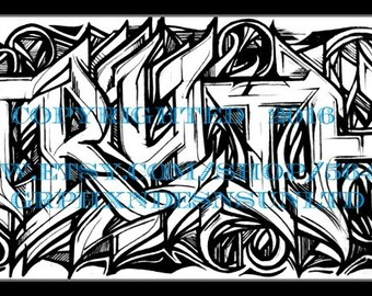 Black and White Print Series - Truth Graffiti Canvas
