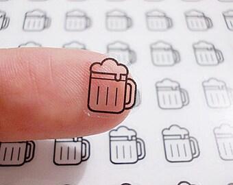 CLEAR Planner Stickers, Beer Mug Planner Stickers - Beer Mug Stickers, Party Stickers, Happy Planner stickers, Erin Condren Stickers (st56#)