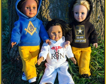"Custom Hoodie Outfit for American Girl or Boy Doll; Sweatshirt & Pants 18"" Dolls, Our Generation, Madame Alexander, Journey Girl, etc!"